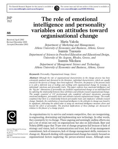 role of emotional intelligence The importance of emotional intelligence may 15, 2017 by hana woolerson the importance of emotional intelligence the ability to identify and monitor your own emotions is one of the most important things you can learn both at university and in the workplace emotional intelligence (eq) is a term that was coined in the.