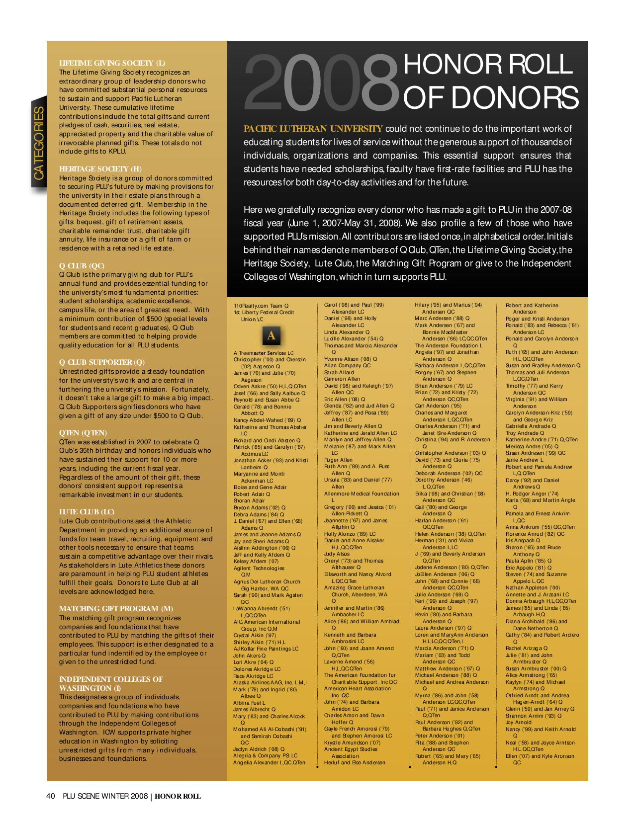 Scene Magazine 2008 Honor Roll of Donors by University