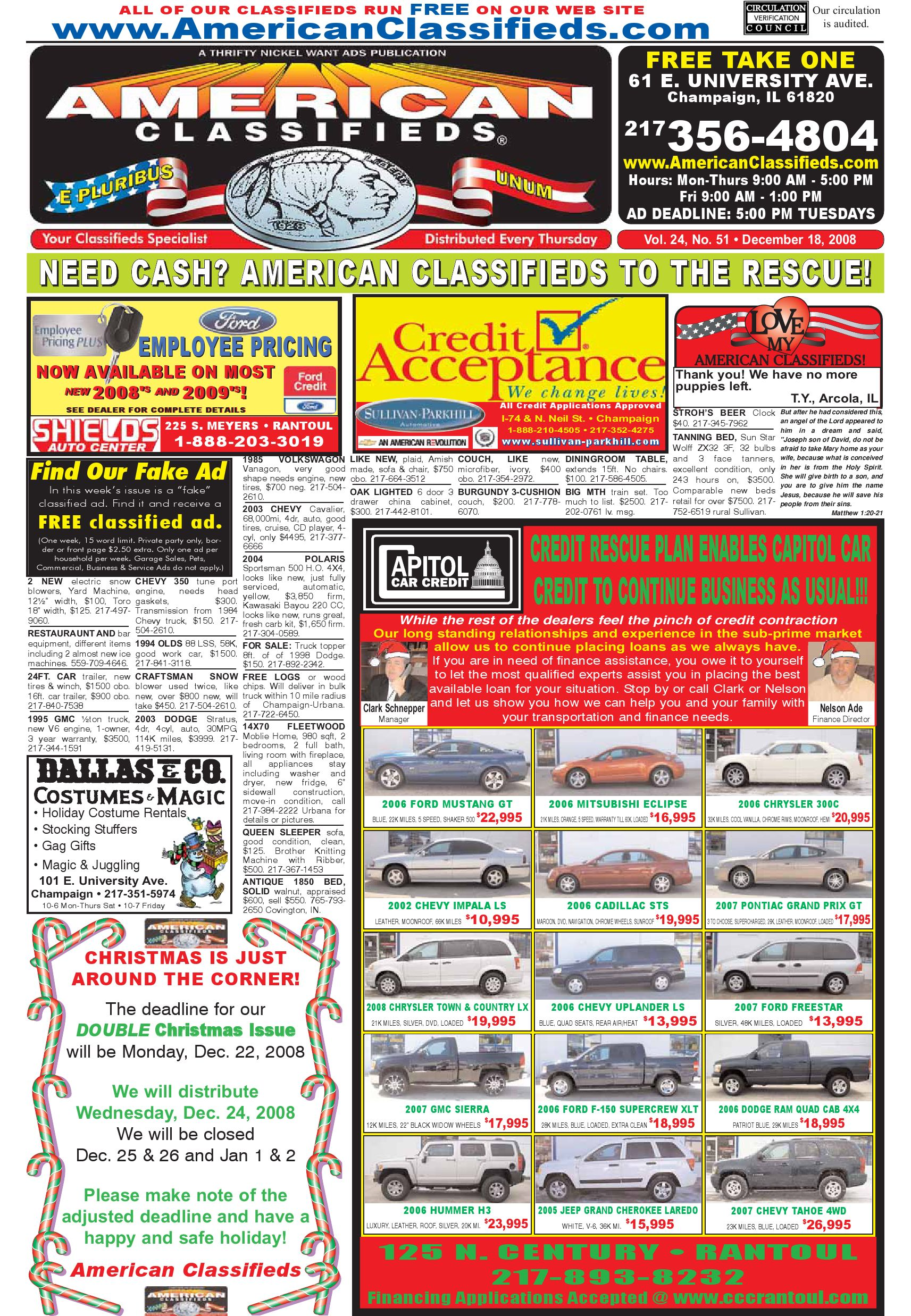 American Classifieds Champaign December 18, 2008 by American