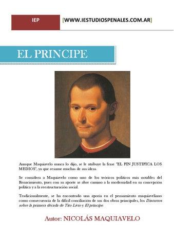 El Principe De Nicolas Maquiavelo By Wwwiestudiospenales