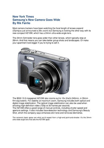 Covered on NewYorkTimes: New Camera Samsung HZ10W Goes Wide!! by ...