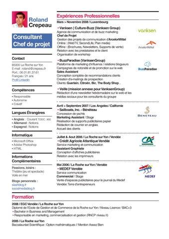 Roland Crepeau. Consultant Chef De Projet Contact 85000 La Roche Sur Yon ...