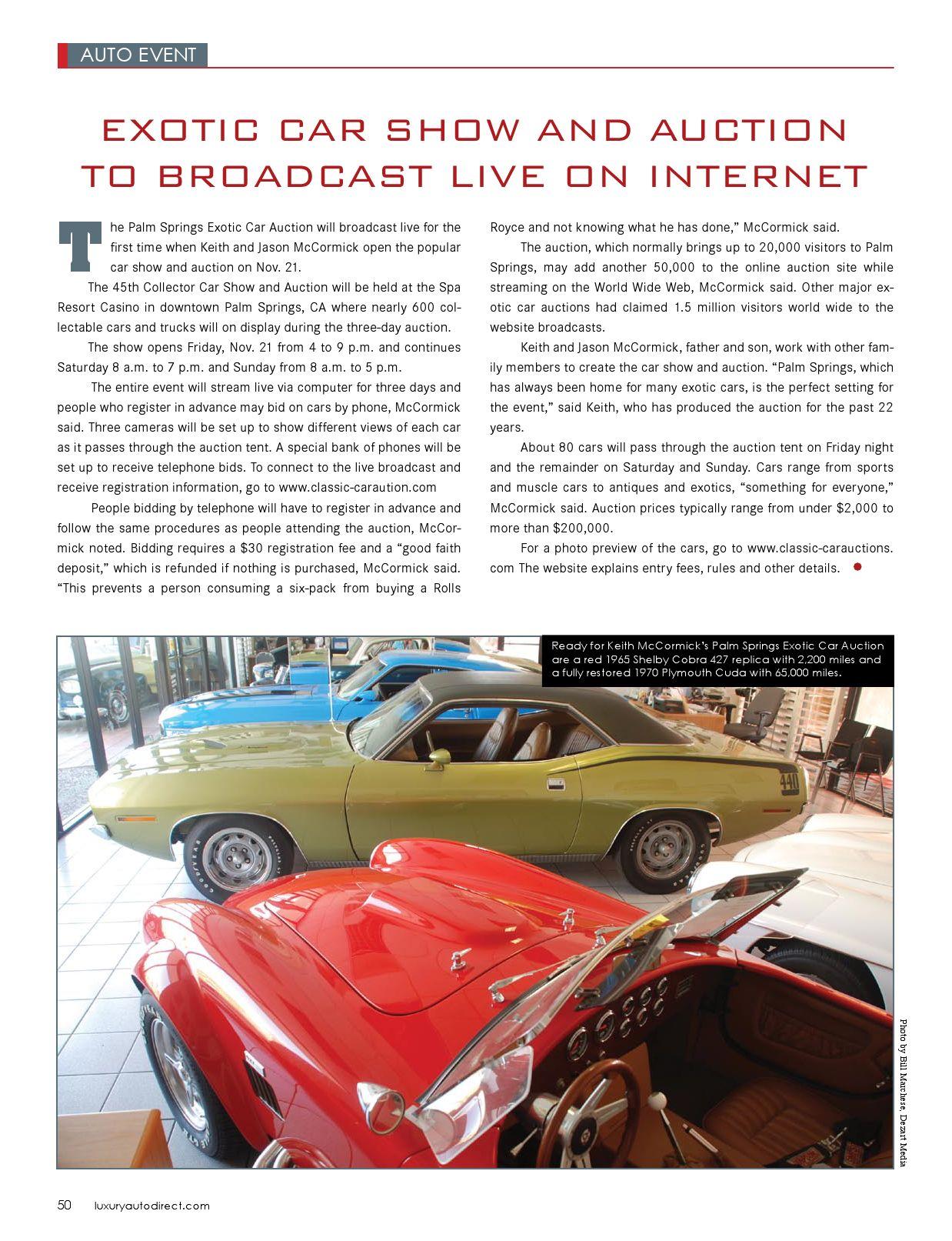 Luxury Auto Direct By LuxuryAutoDirectcom Issuu - Palm springs classic car show