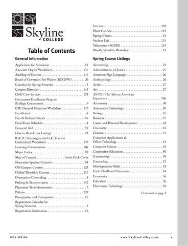 Spring 2009 Class Schedule by Jasmine Witham - issuu