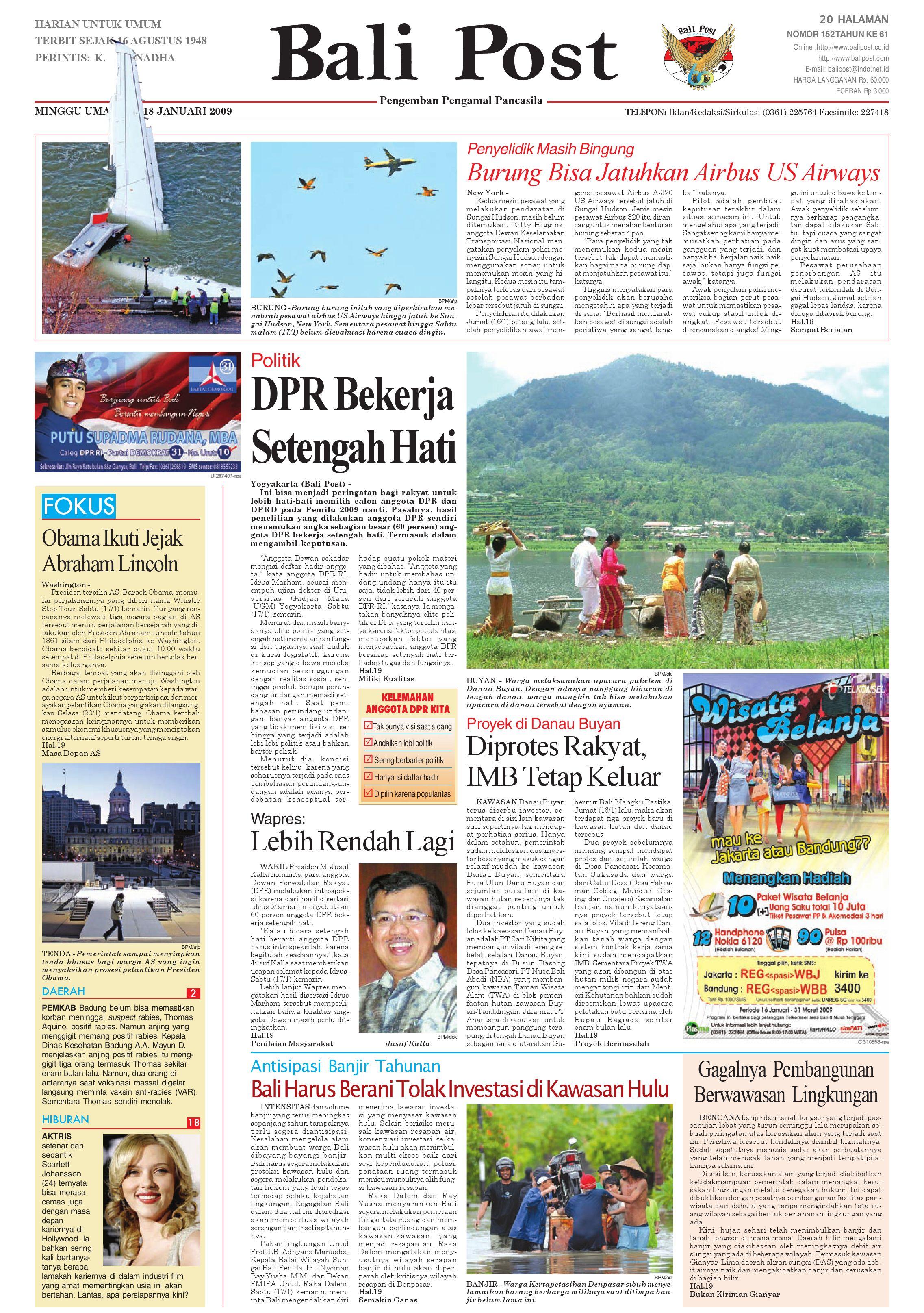 Bali Post Minggu 18 Januari 2009 By E Paper KMB Issuu