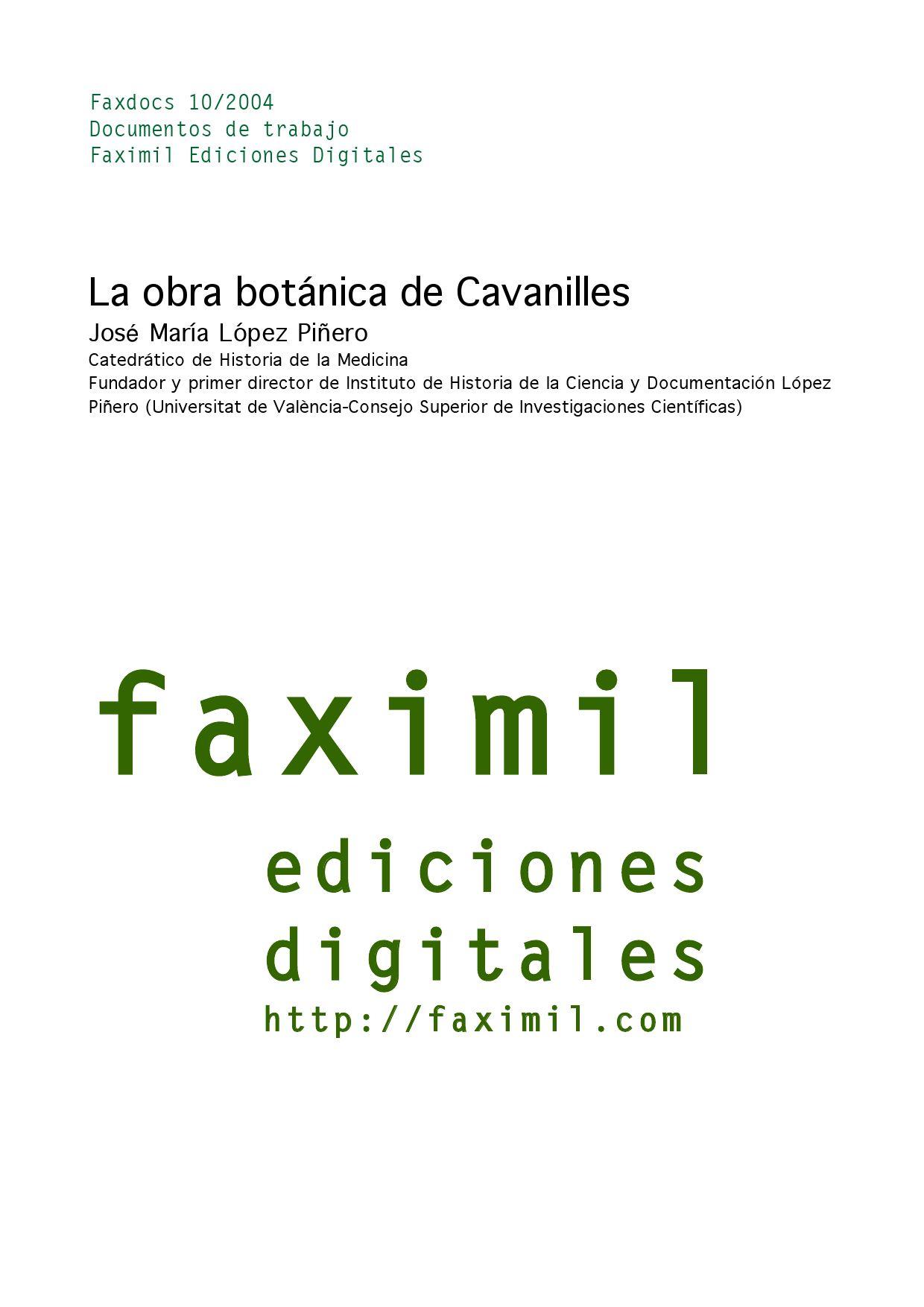La obra botánica de Cavanilles / José María Lòpez by Faximil ...