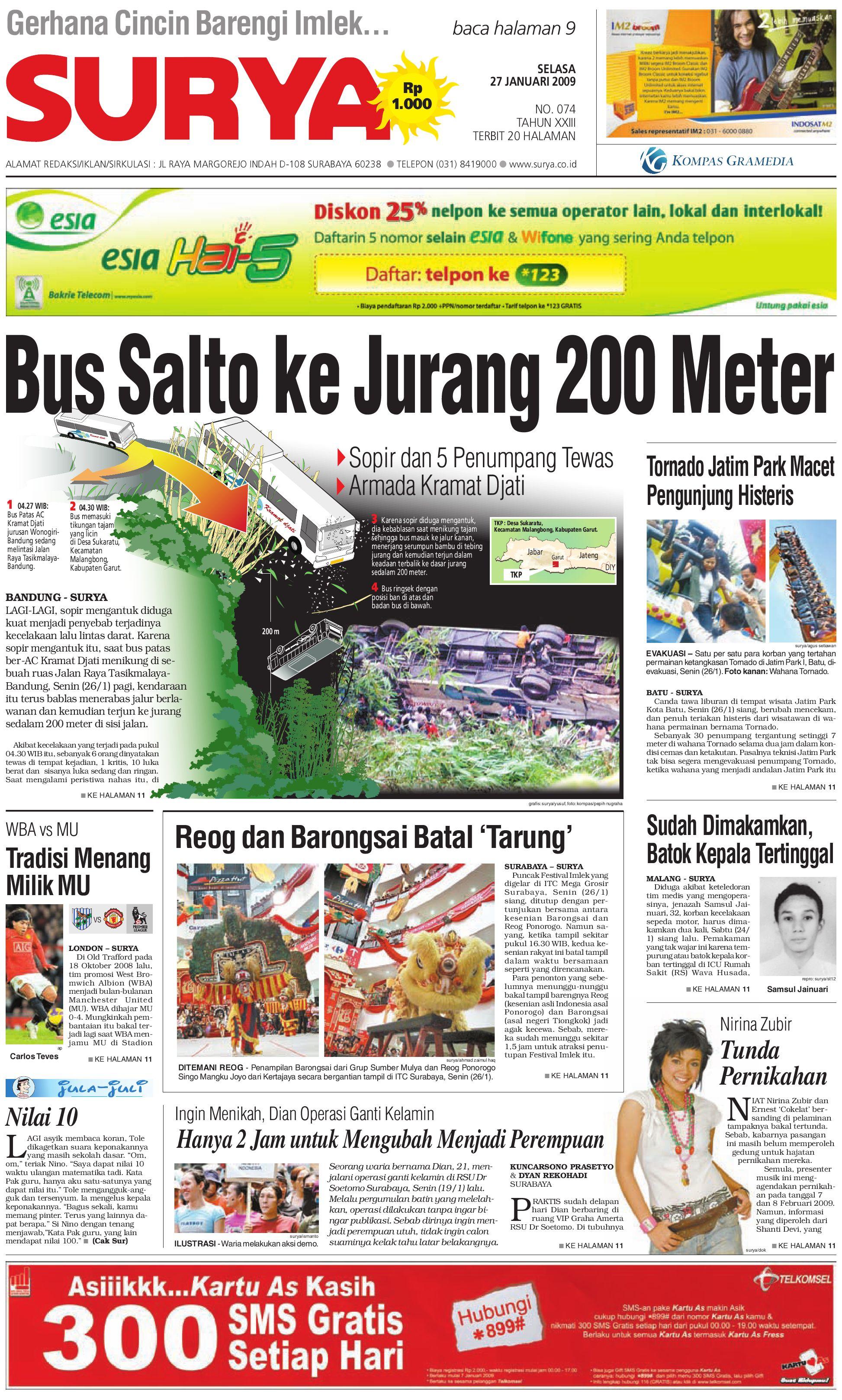 Surya Edisi Cetak 27 01 2009 By Harian Issuu Rejeki Anak Soleh 3 Agip 4t Super 1l