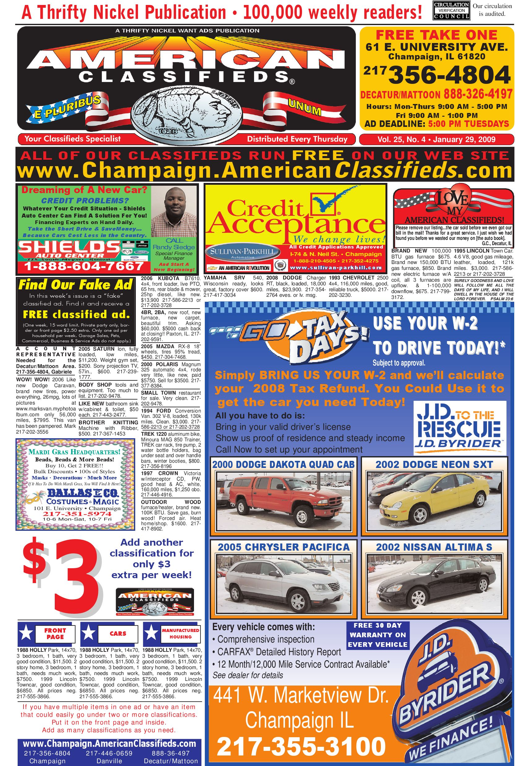 American Classifieds Champaign January 29, 2009 by American