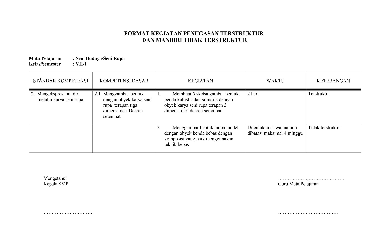 format tugas terstruktur
