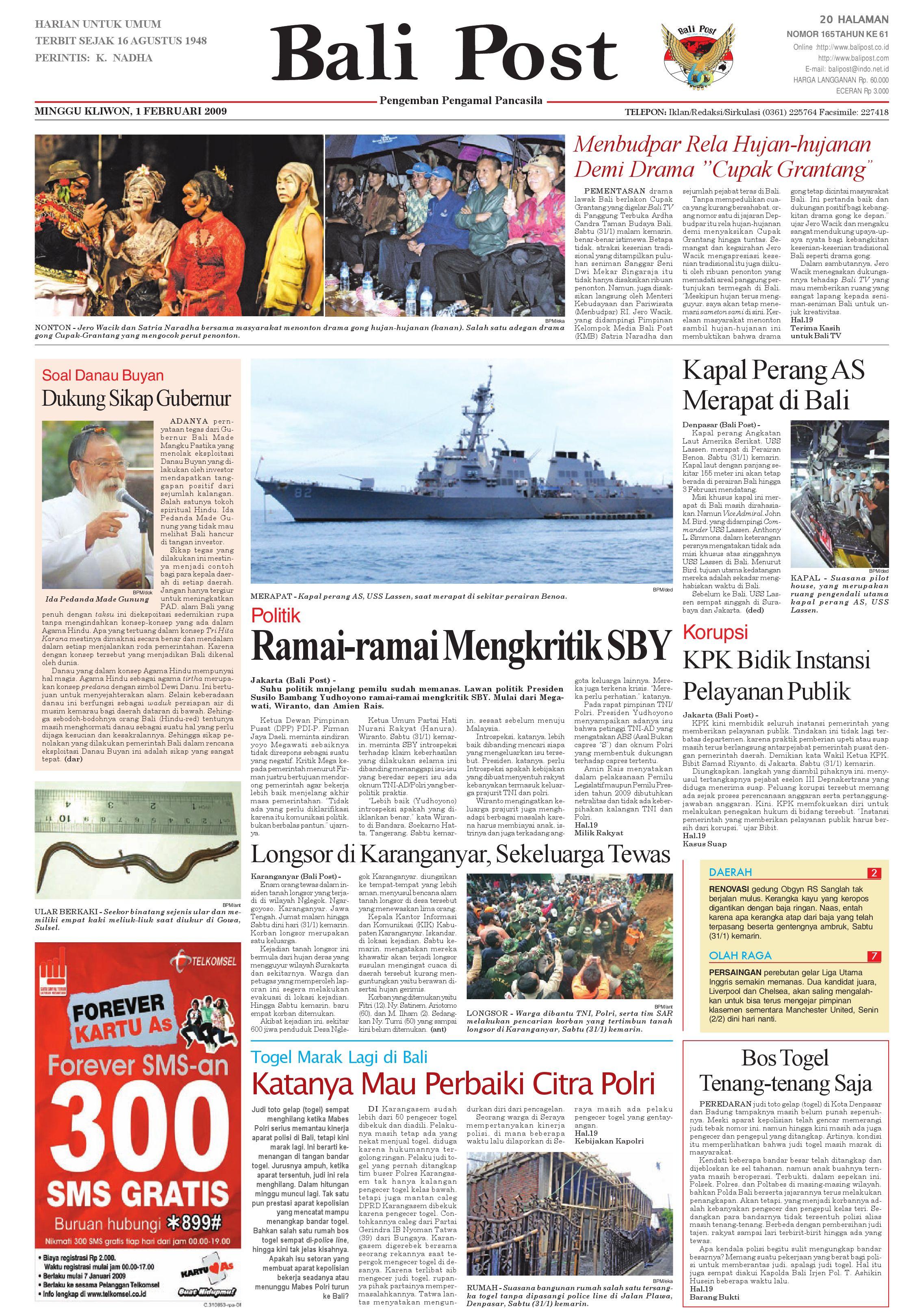Bali Post Minggu 1 Februari 2009 By E Paper Kmb Issuu Voucher 300 Plus Tiara Gatzu Monang Maning Toko Soputan