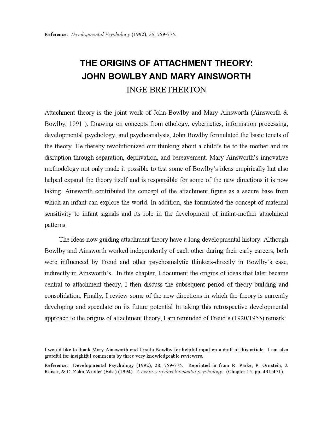 mary ainsworth theory