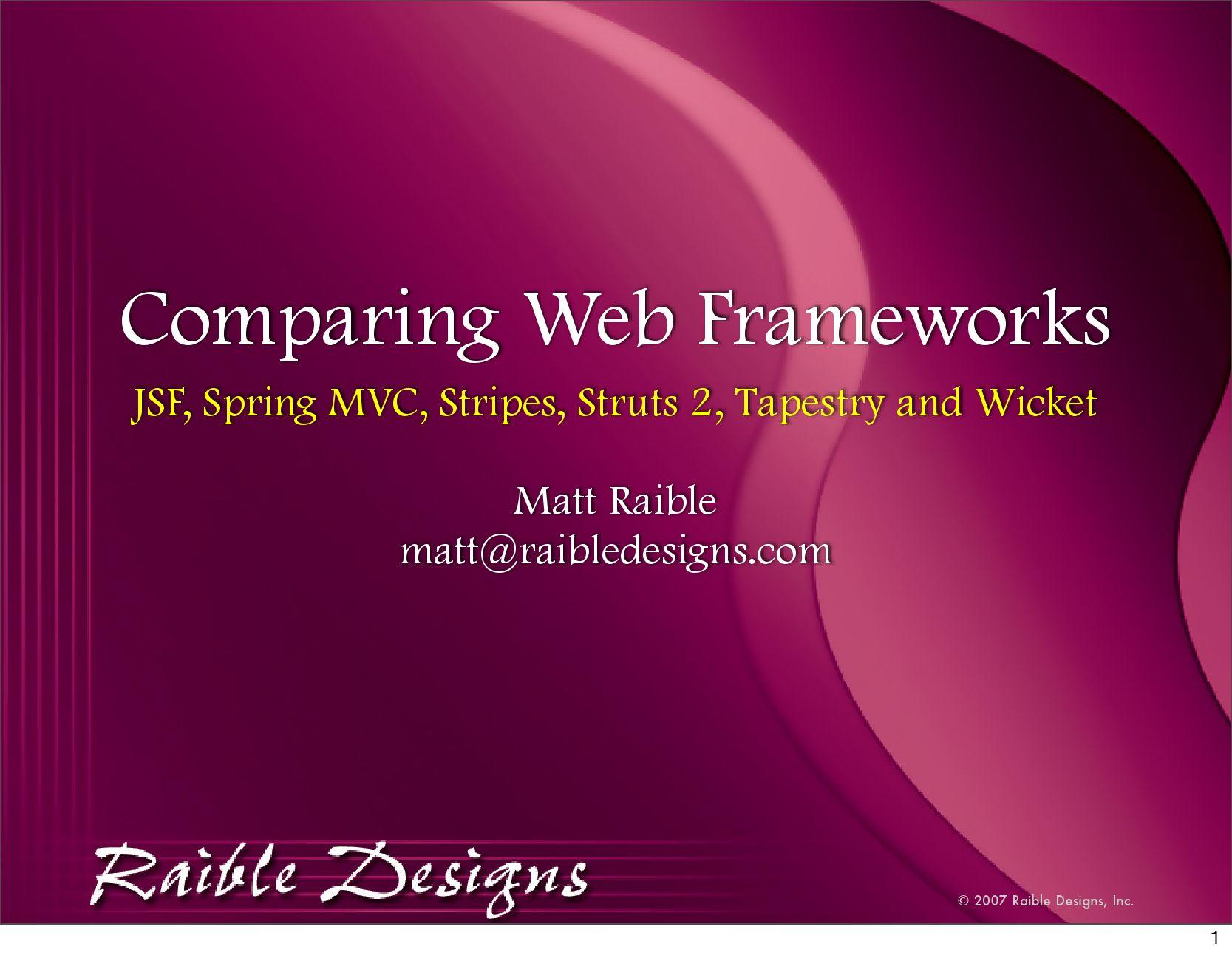 Web Framework Comparazione by Antonio Spiezia - issuu