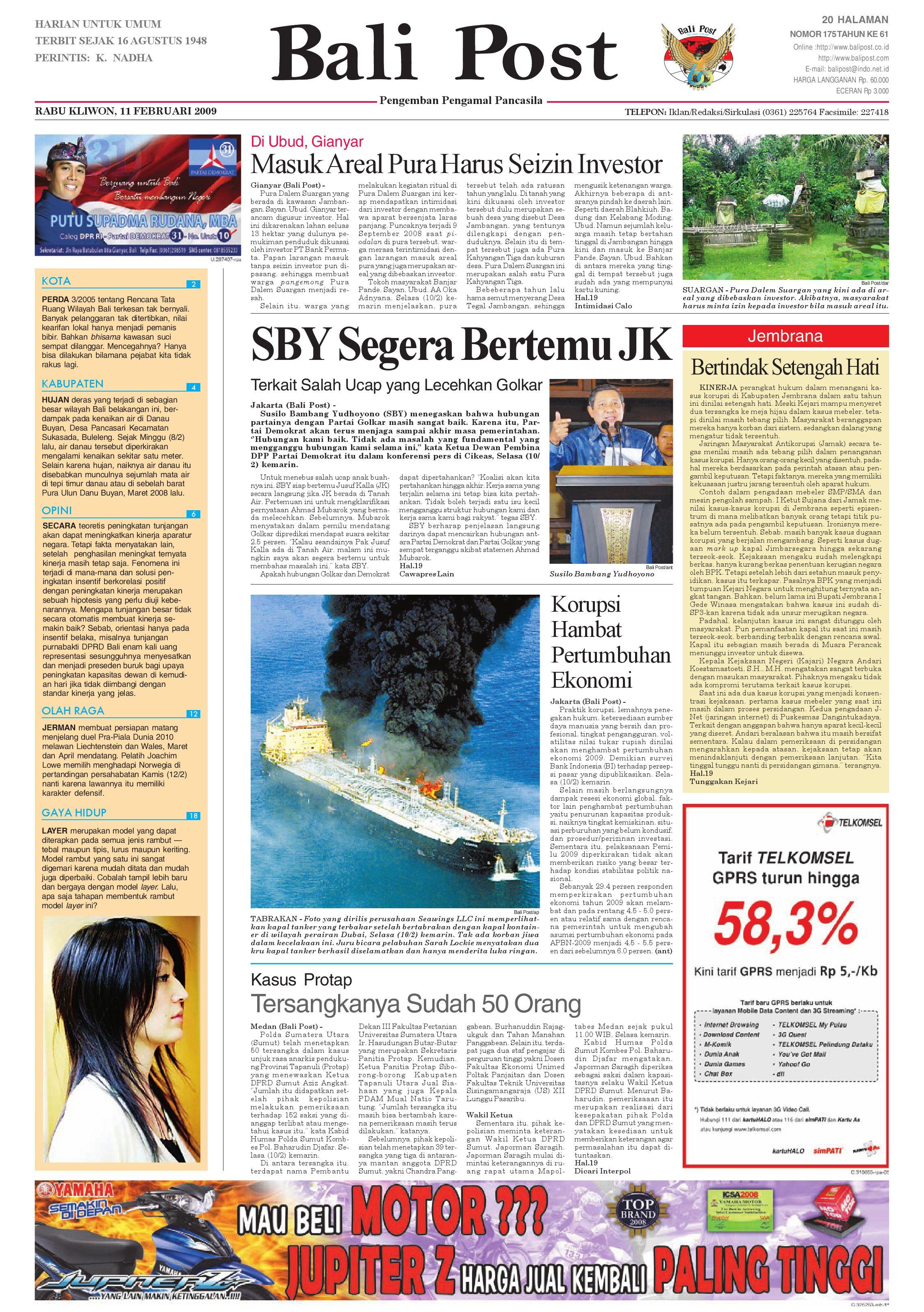Bali Post Rabu 11 Februari 2009 By E Paper KMB Issuu