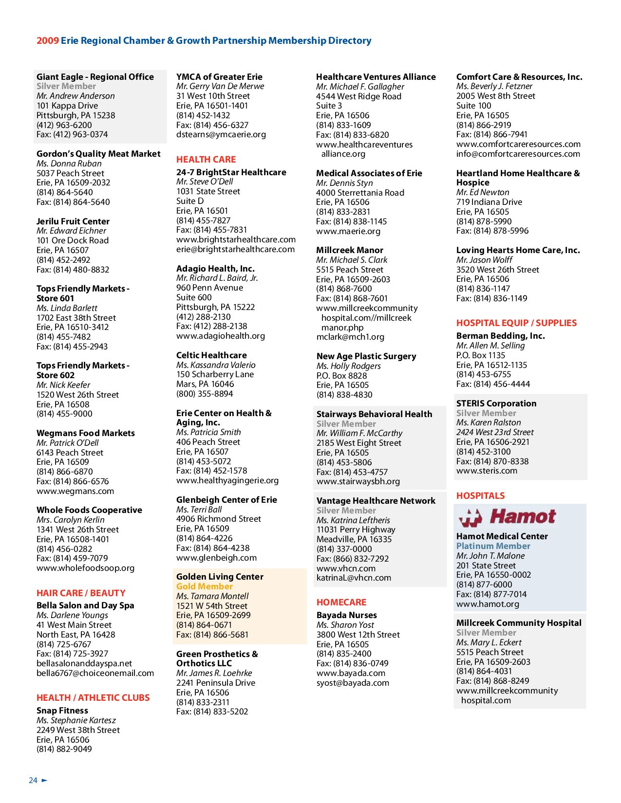 2009 Membership Directory and Buyer's Guide by Erie Regional