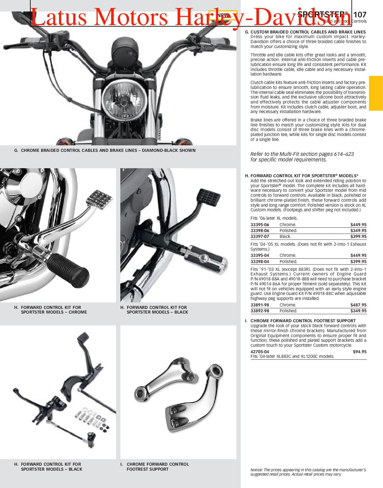Harley-Davidson Sportster® Parts and Accessories Catalog by