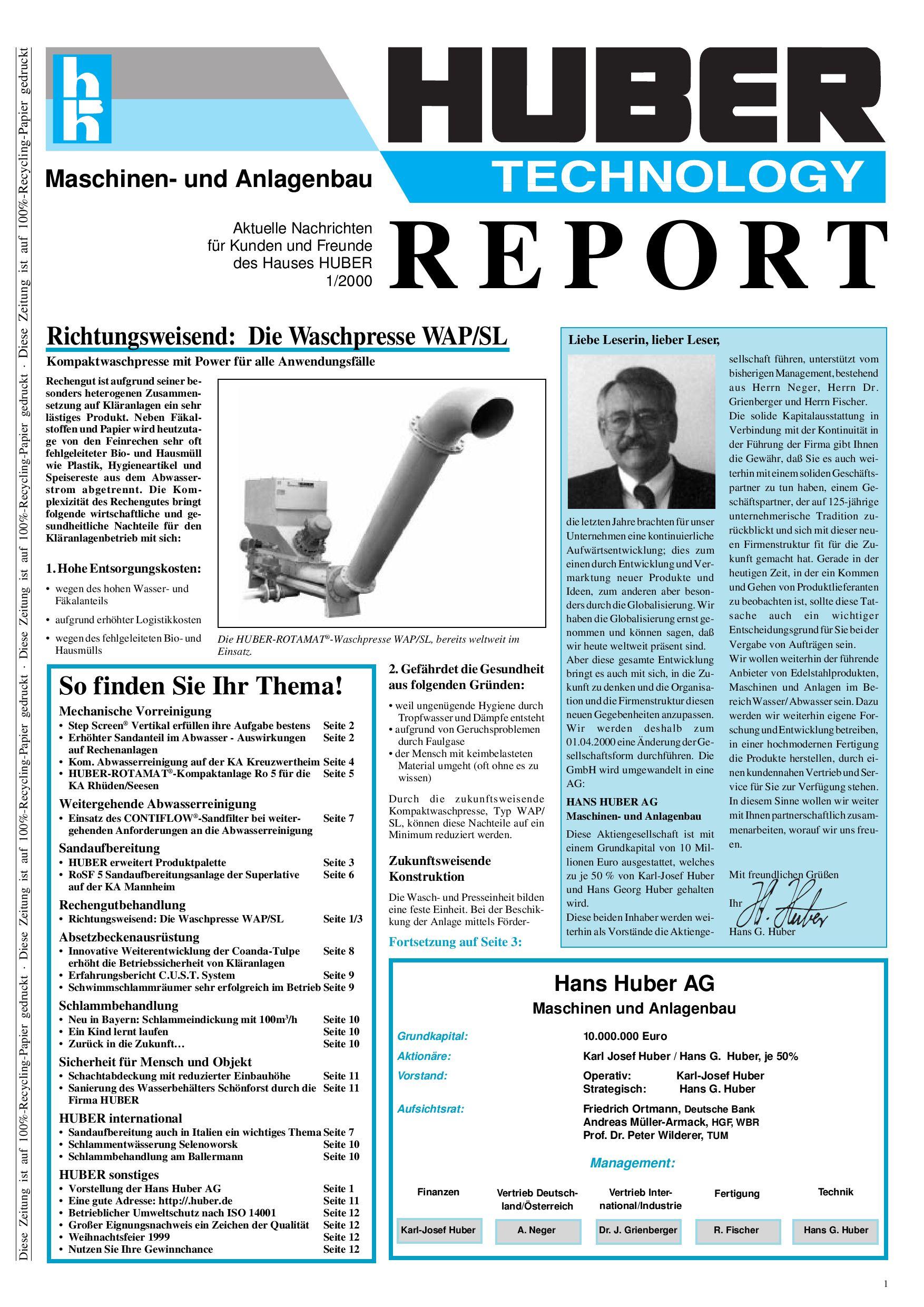 Huber Report - Ausgabe 1/2000, deutsch by SE HUBER - issuu