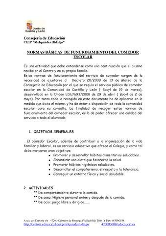 Normas básicas del comedor escolar by Miguel Rodriguez - issuu