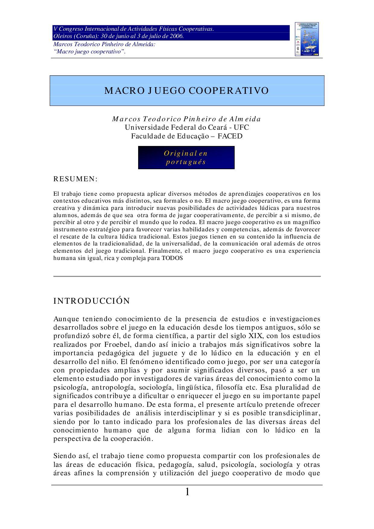 MACRO JUEGO COOPERATIVO by Marcos Teodorico Pinheiro de Almeida - issuu