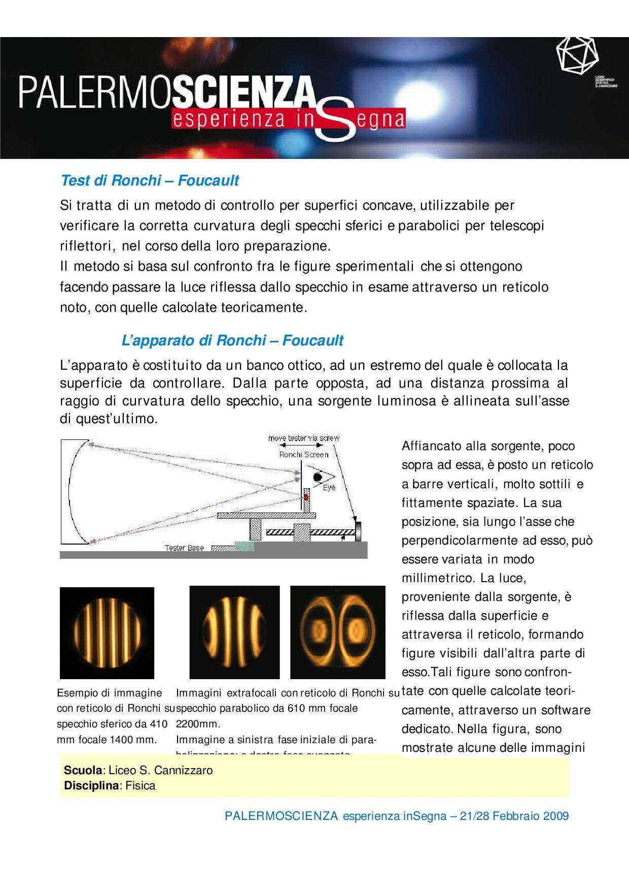Test di ronchi foucault si tratta di un metodo by palermo scienza issuu - Test dello specchio ...