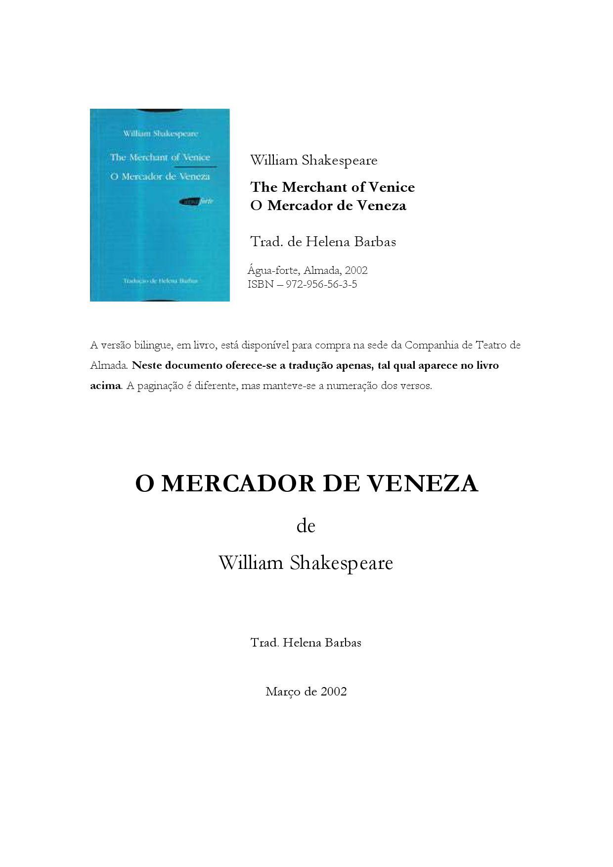 O mercador de veneza pdf writer