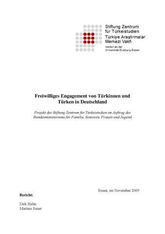Freiwilliges Engagement von Türkinnen und Türken in Deutschland ...