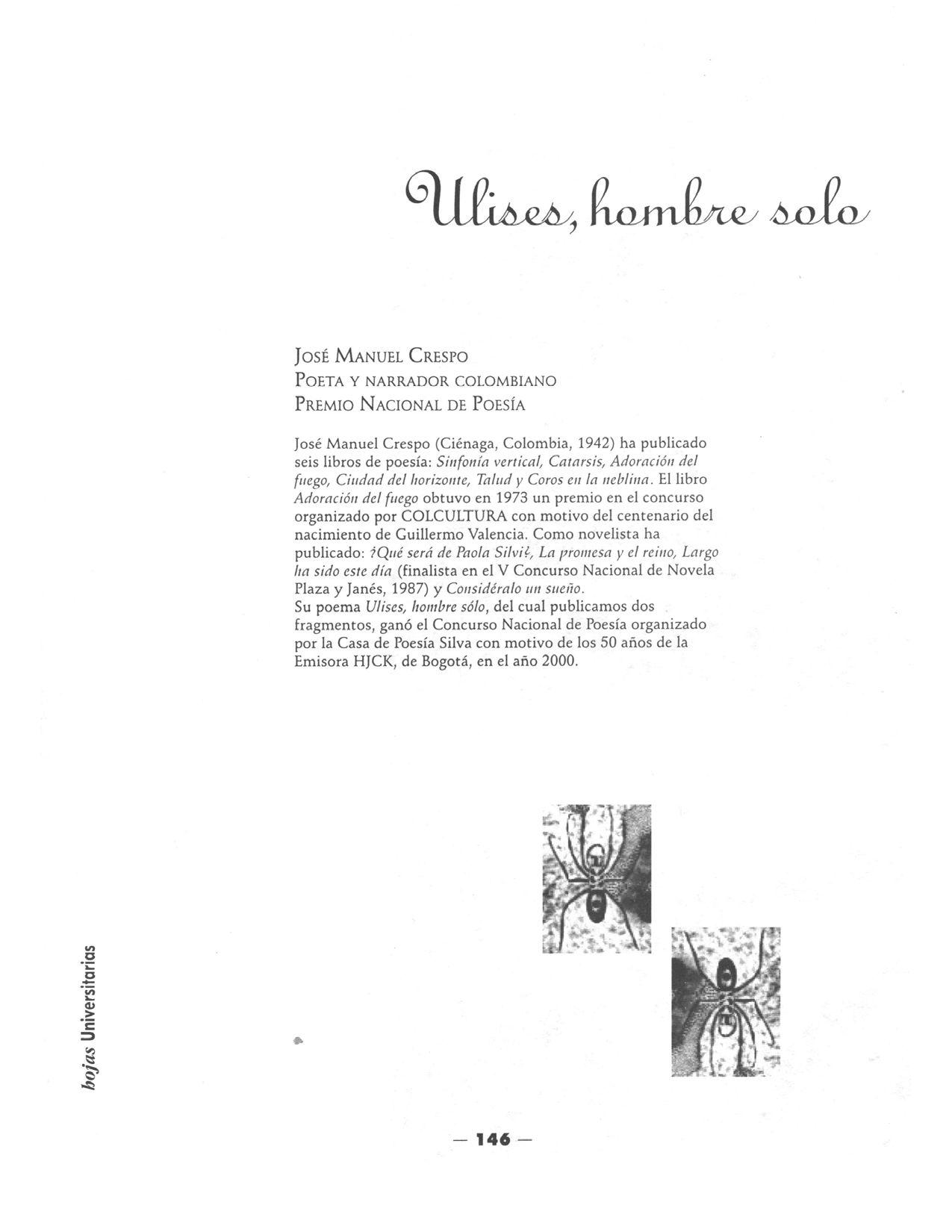 ULISES, HOMBRE SOLO (Fragmentos) Por: José Manuel Crespo (1942-)