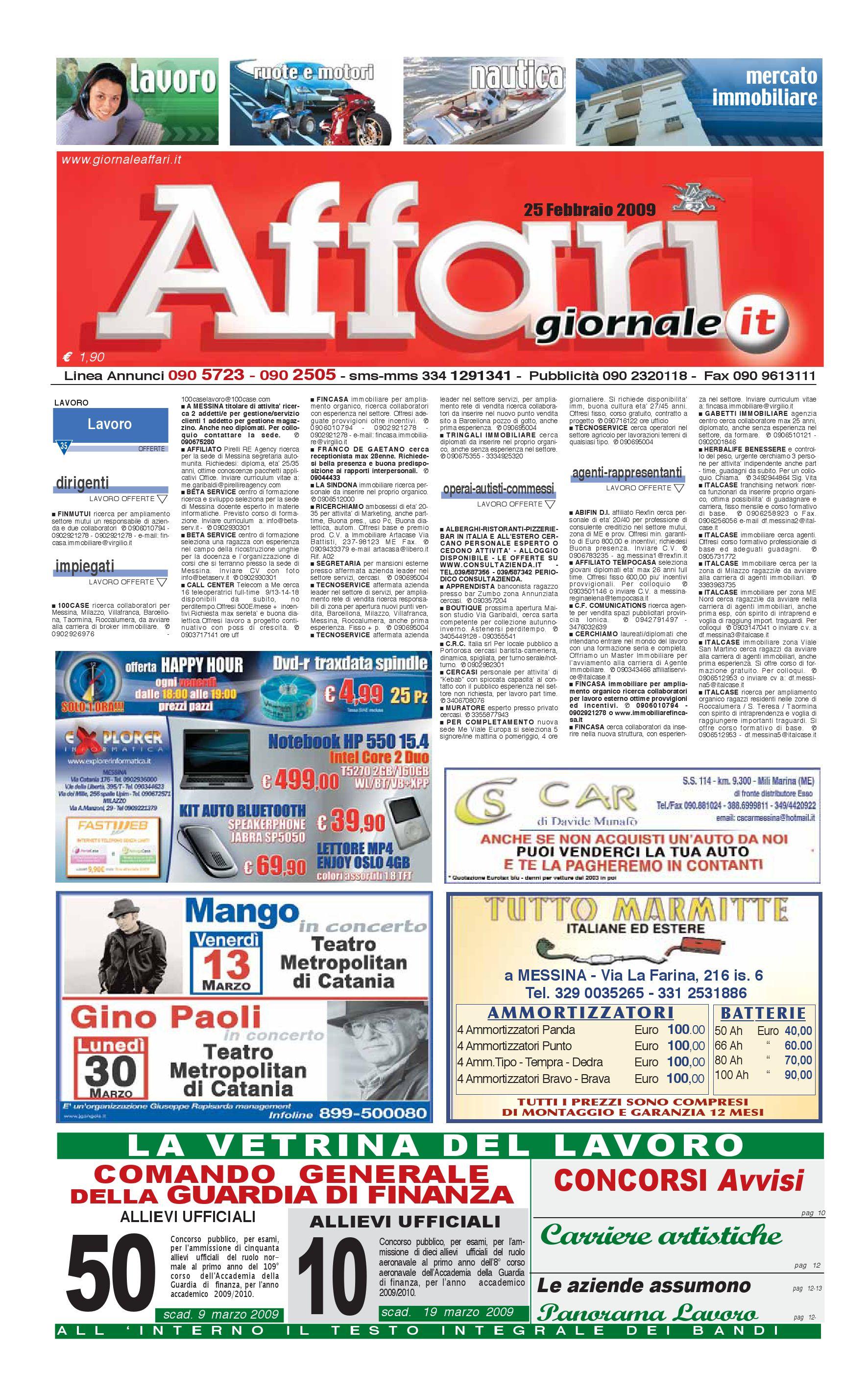 the latest de1ad 301a5 Giornale Affari Mercoledì 25 Febbraio 2009 by Editoriale Affari Srl - issuu