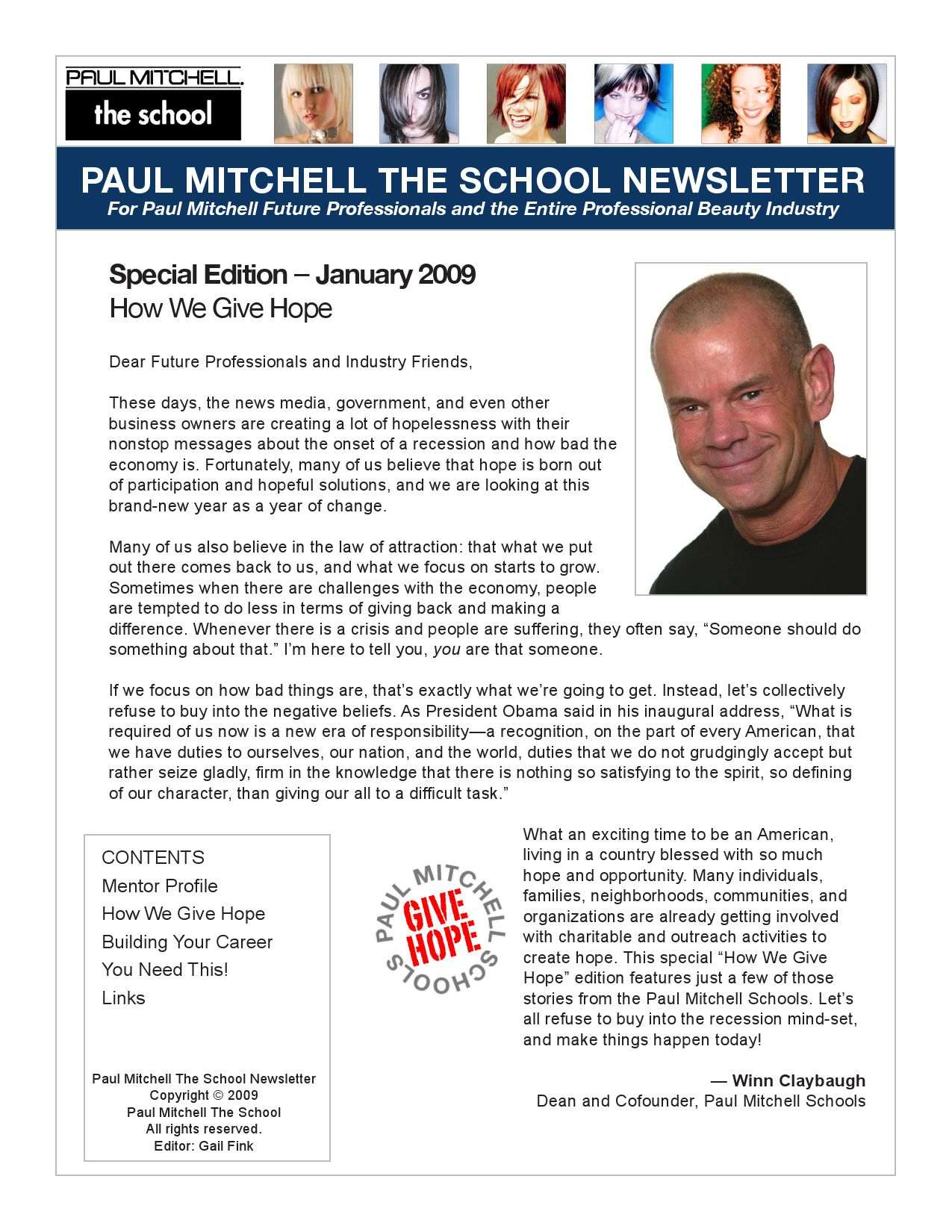 Paul Mitchell Schools January 09 Newsletter by Kyle Parker