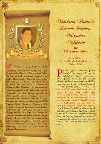 Nakshatra Padas in Ravana Samhita ‐ Mrigashira by Saptarishis
