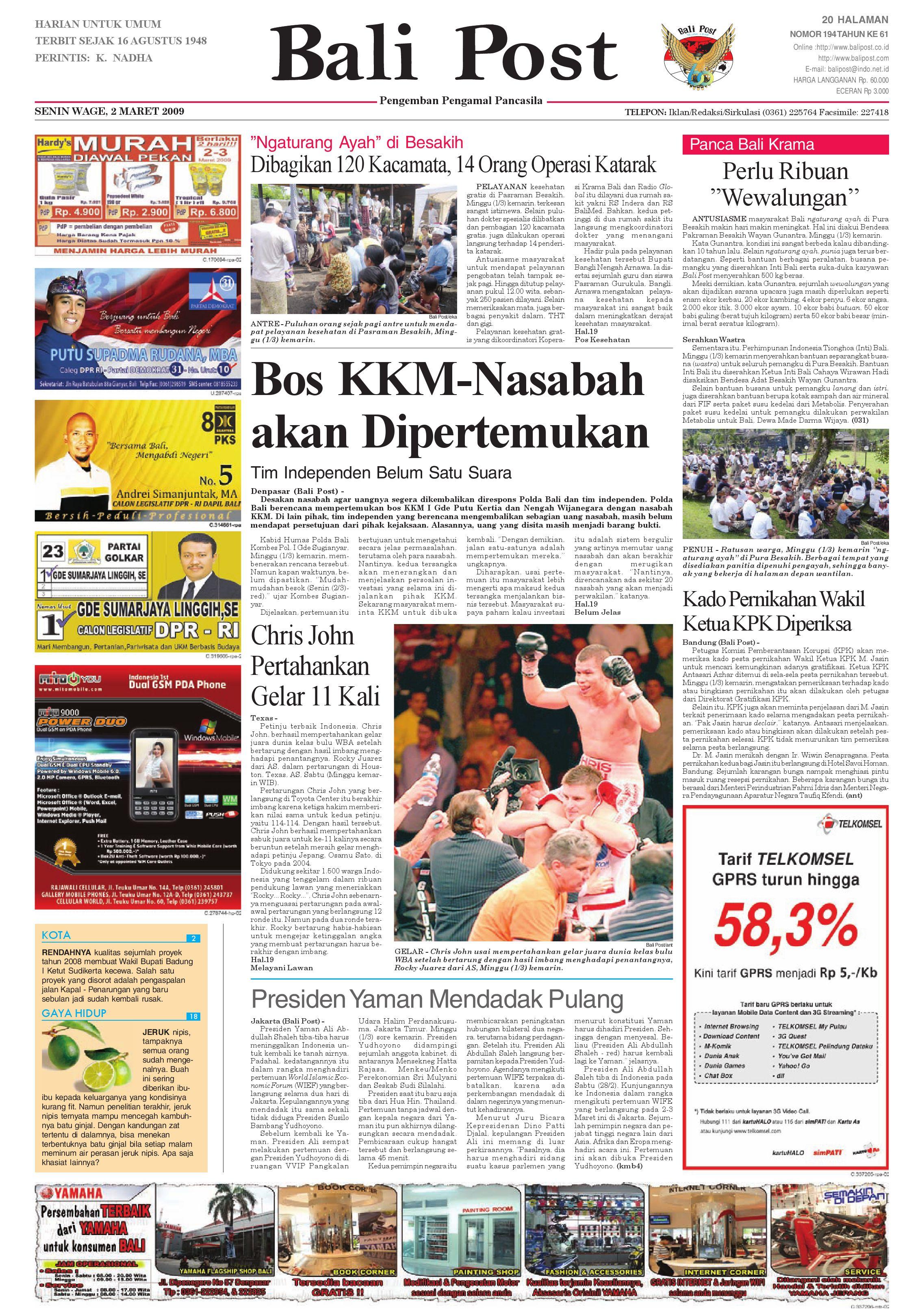 Bali Post Senin 27 April 2009 By E Paper Kmb Issuu # Muebles Nuryan San Luis Potosi