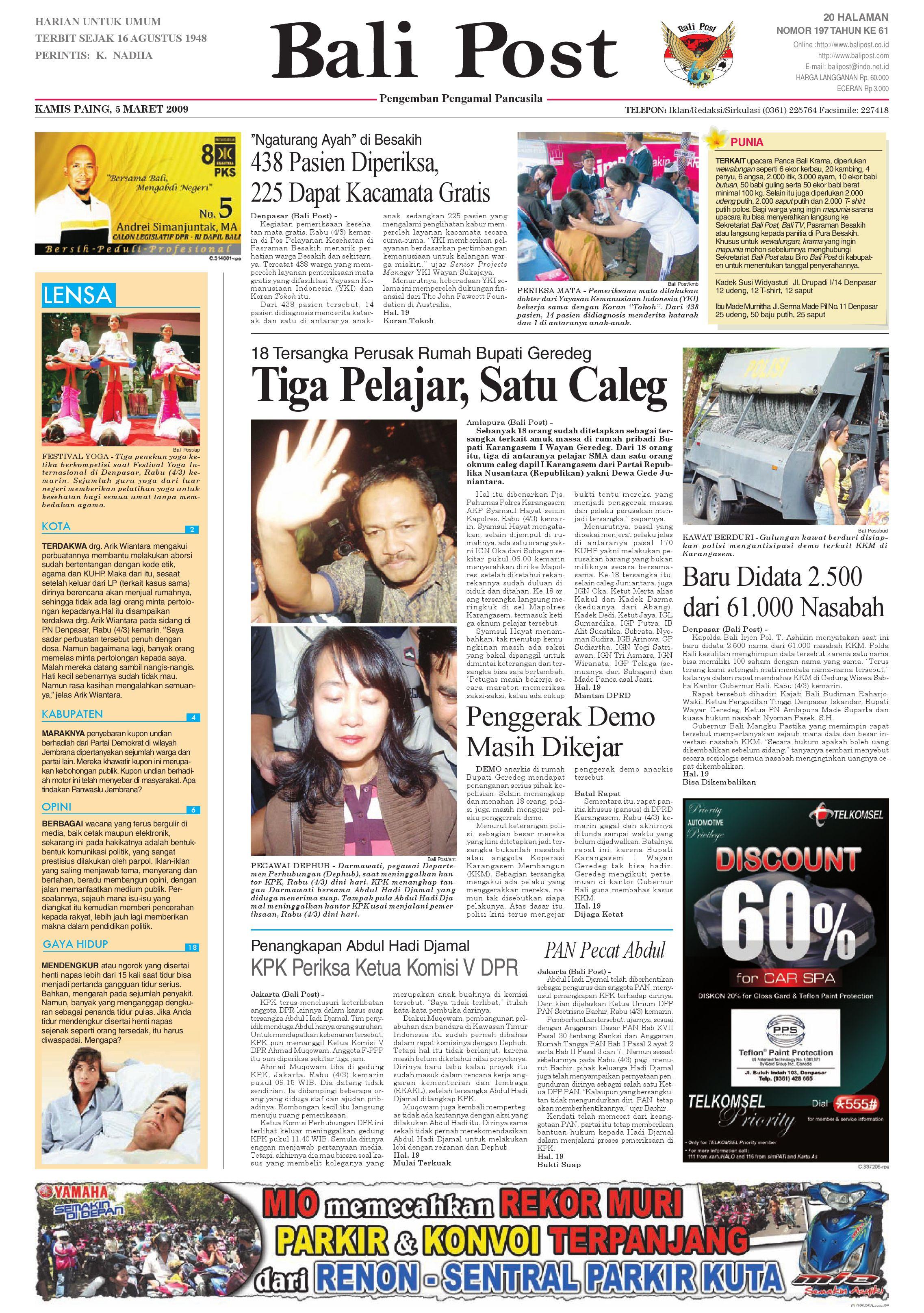 Bali Post Kamis 5 Maret 2009 By E Paper Kmb Issuu Produk Ukm Bumn Rasa Dewa Sari Buah Mbing 250ml Jus Free Ongkir Depok Ampamp Jakarta