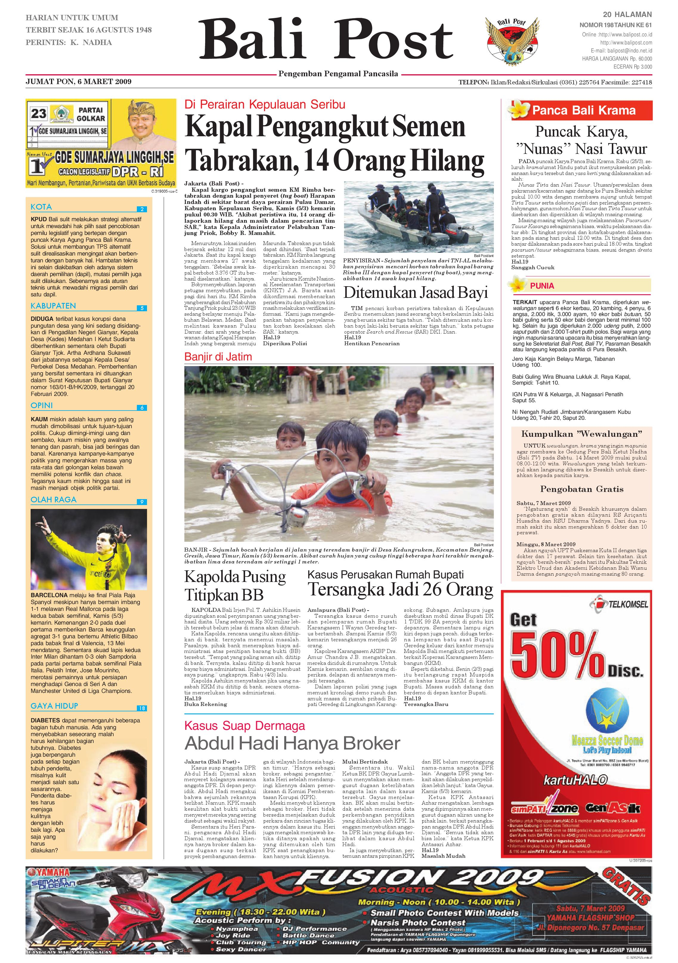 Bali Post Jumat 6 Maret 2009 By E Paper Kmb Issuu Voucher 300 Plus Tiara Gatzu Monang Maning Toko Soputan