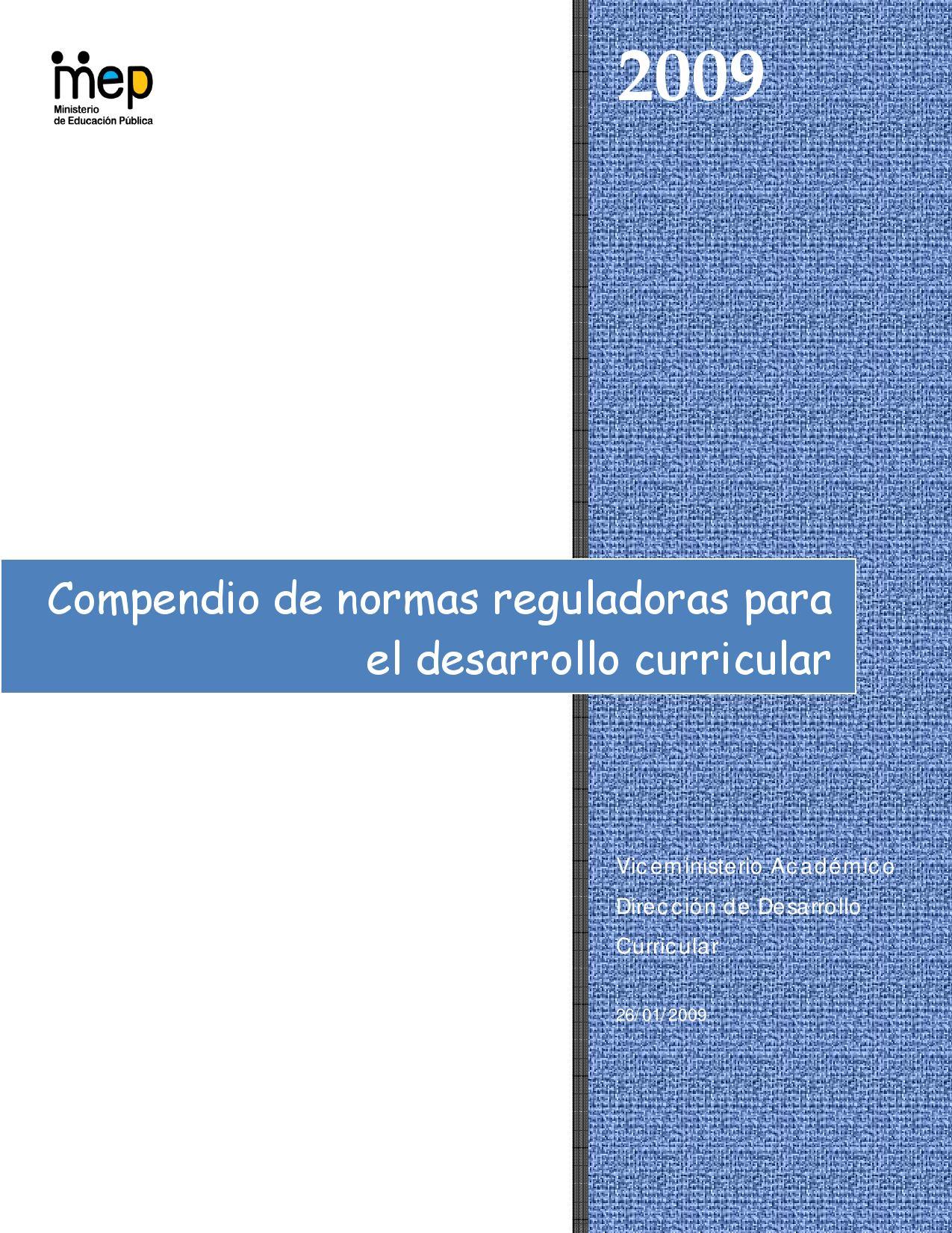 Compendio de Normas Reguladoras para el Desarrollo Curricular 2009 ...