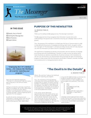 Microsoft Word - The Messenger Newsletter - Feb