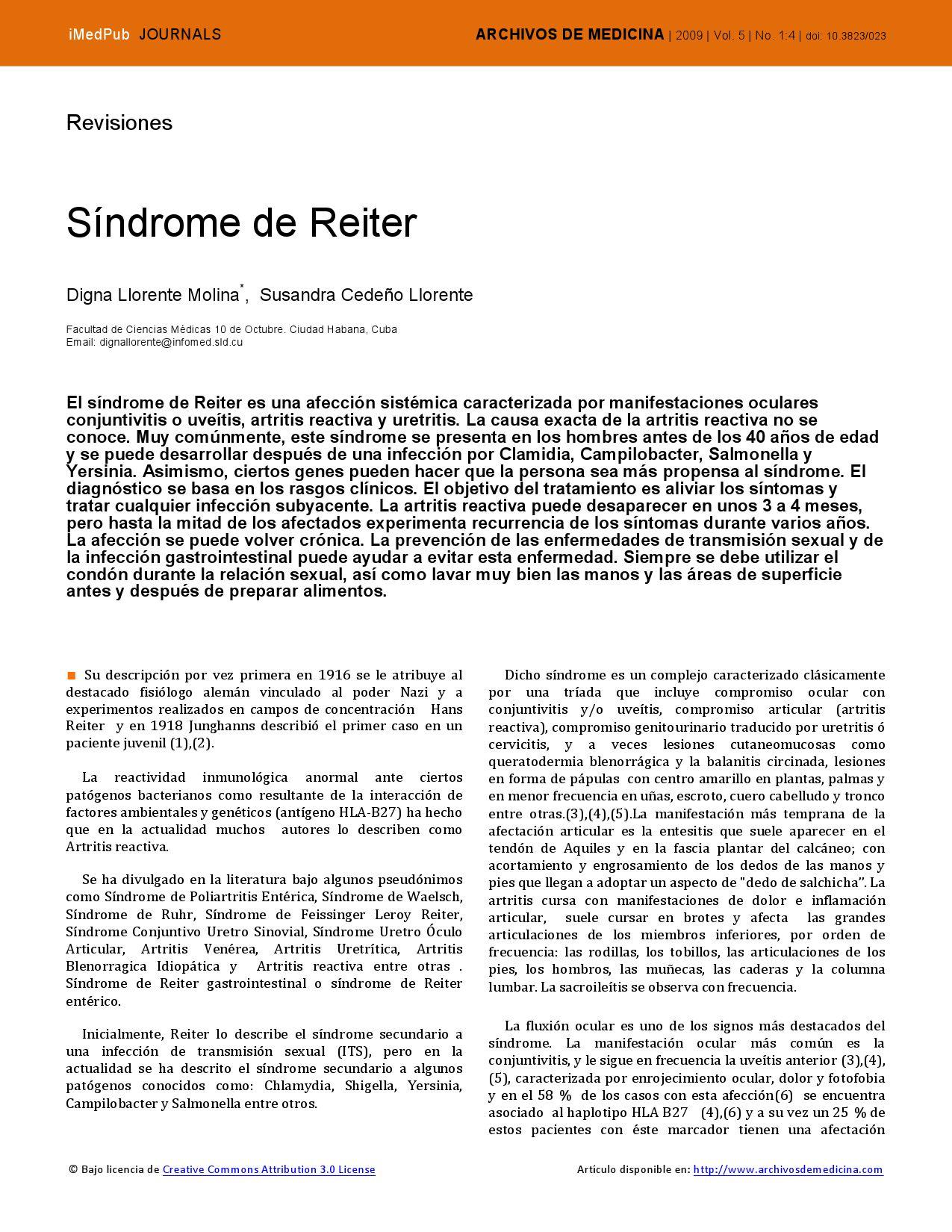 síndrome de uretritis reiter y