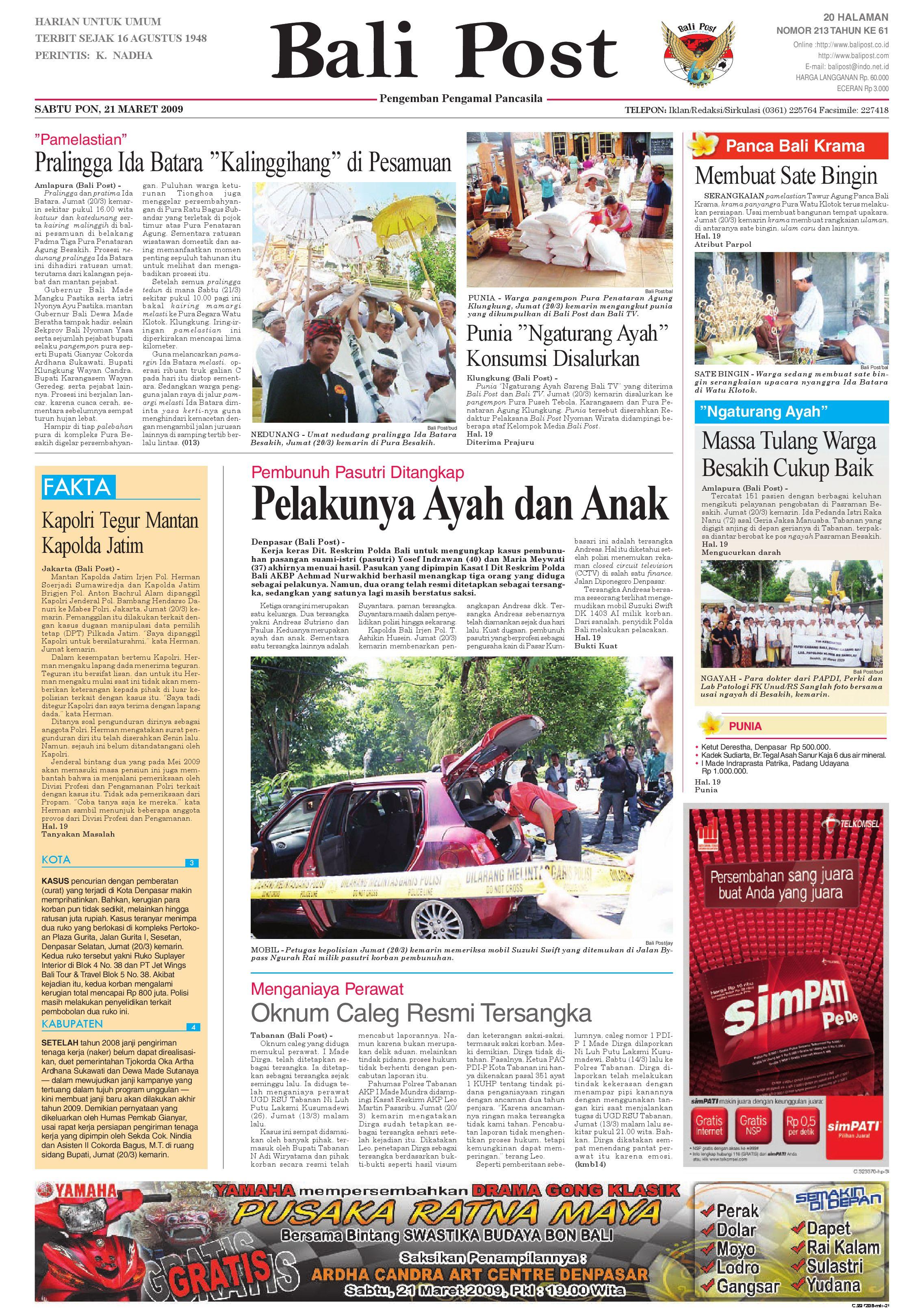 Bali Post Sabtu 21 Maret 2009 By E Paper Kmb Issuu Produk Ukm Bumn Tas Phiton Kembang Orchid