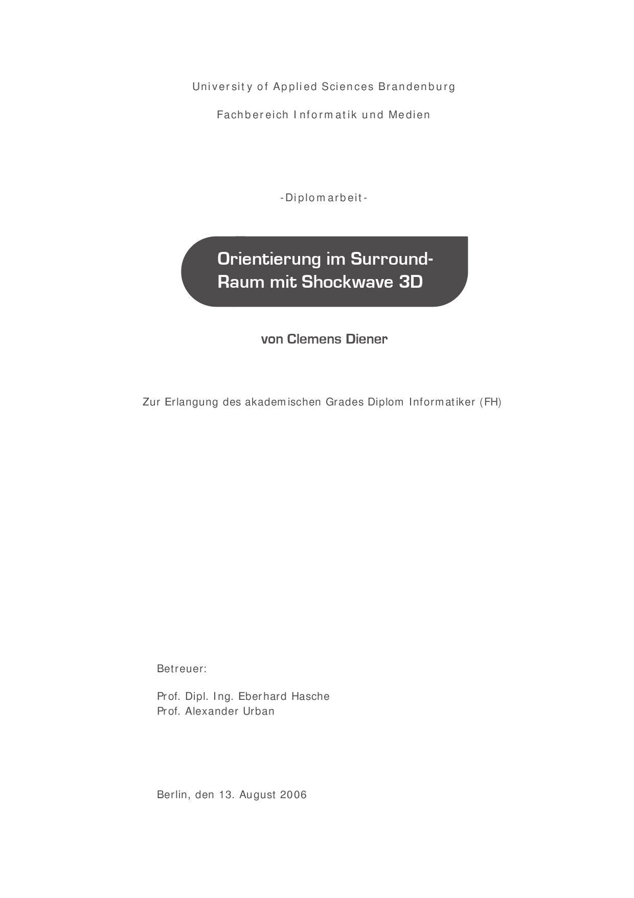 Orientierung im Surround-Raum mit Shockwave 3D by Clemens Diener - issuu