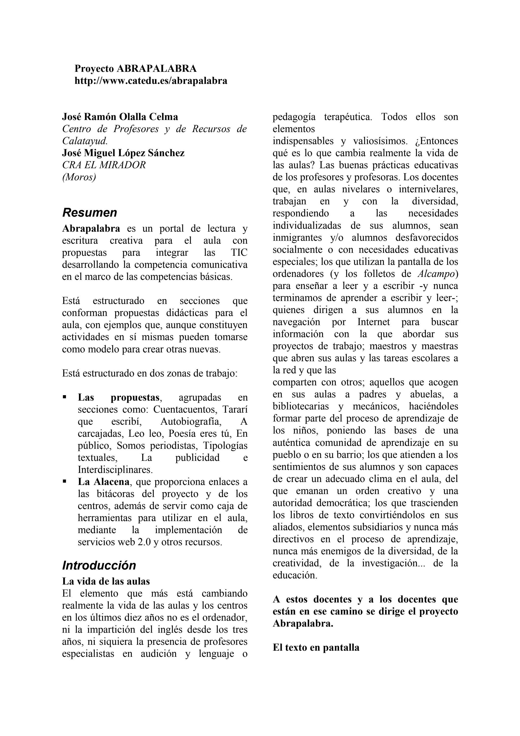 Proyecto Abrapalabra by José Ramón Olalla - issuu