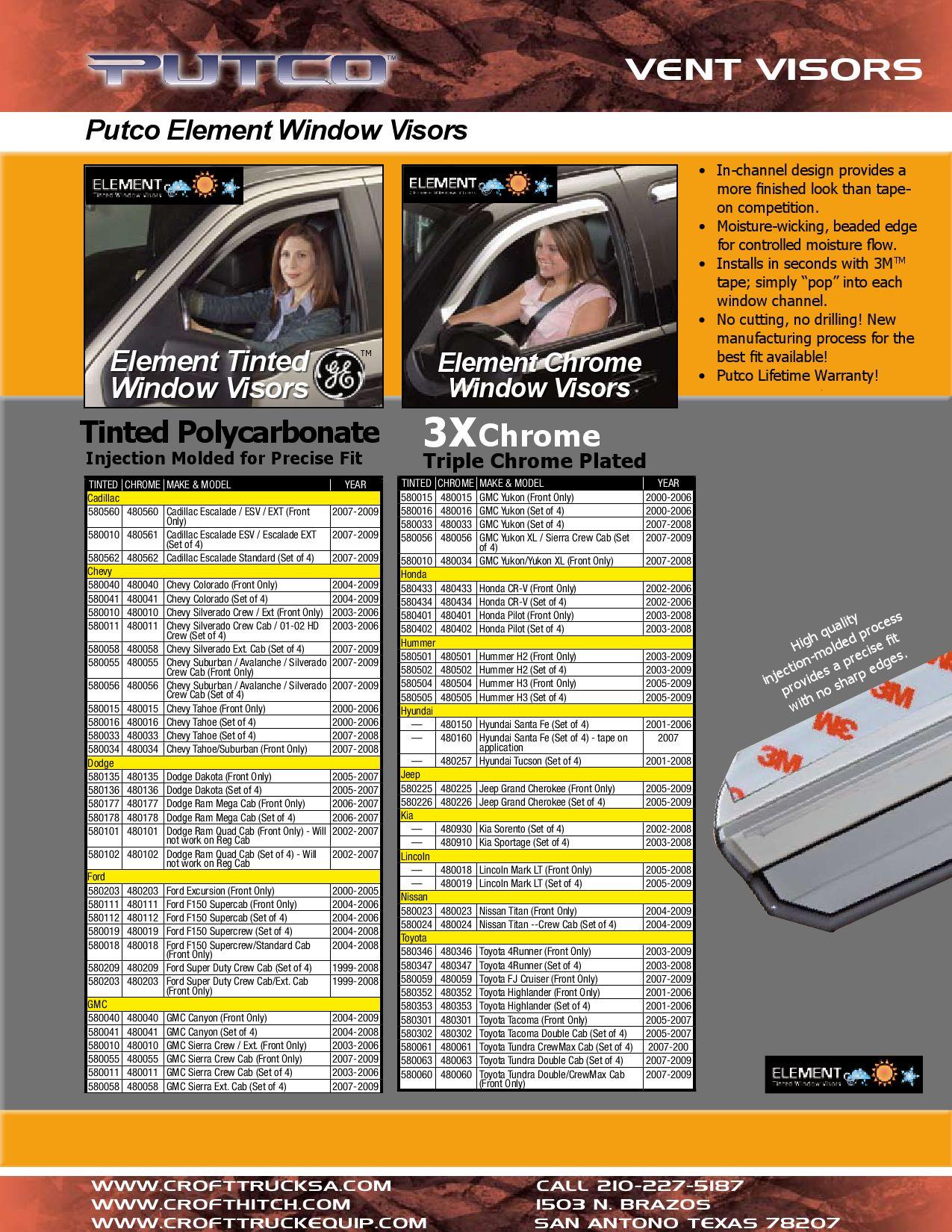 Set of 4 Putco 480112 Element Chrome Window Visor