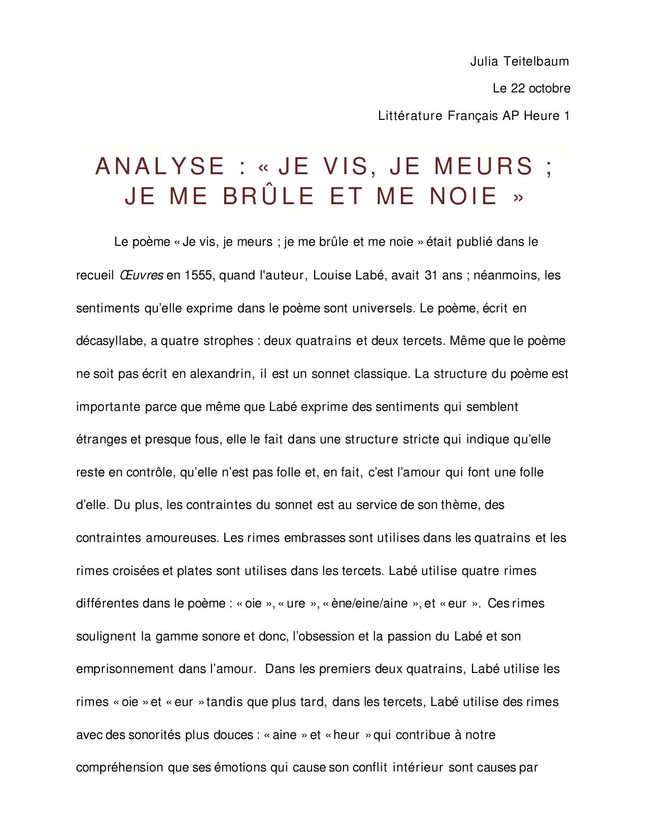 Analyse De Je Vis Je Meurs De Louise Labe By Julialt Issuu