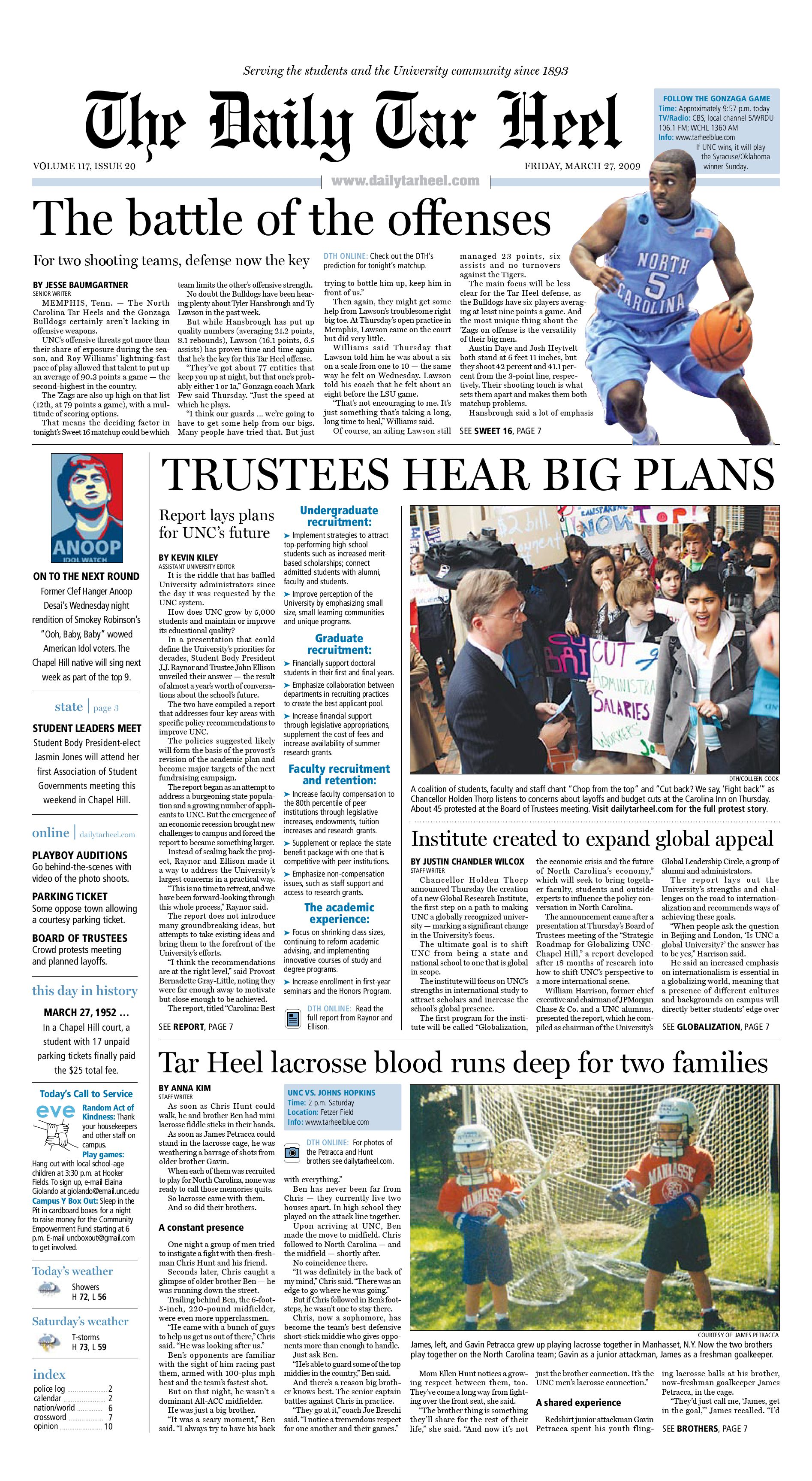 The Daily Tar Heel for March 27, 2009 by The Daily Tar Heel