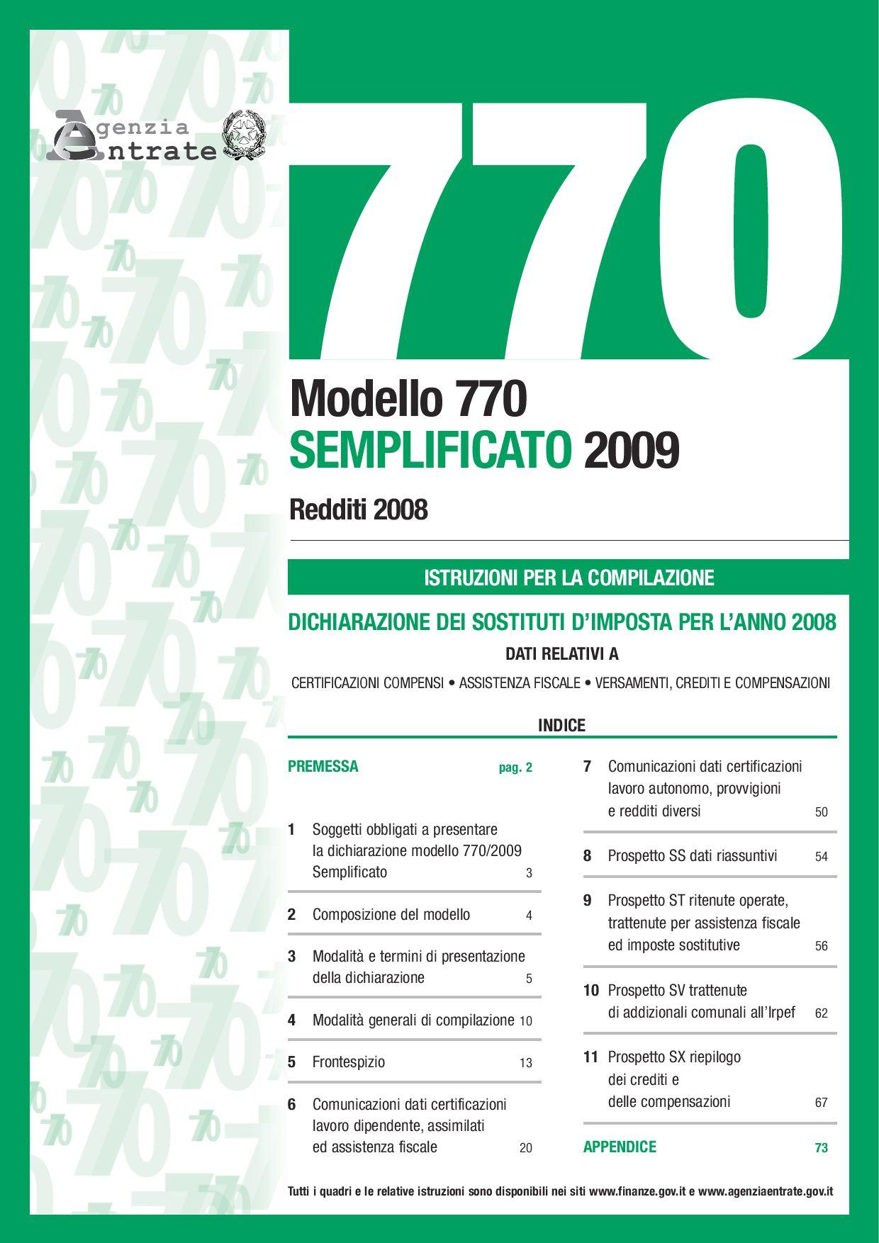 Istruzioni modello 770 semplificato by spiri arci issuu for Dichiarazione 770