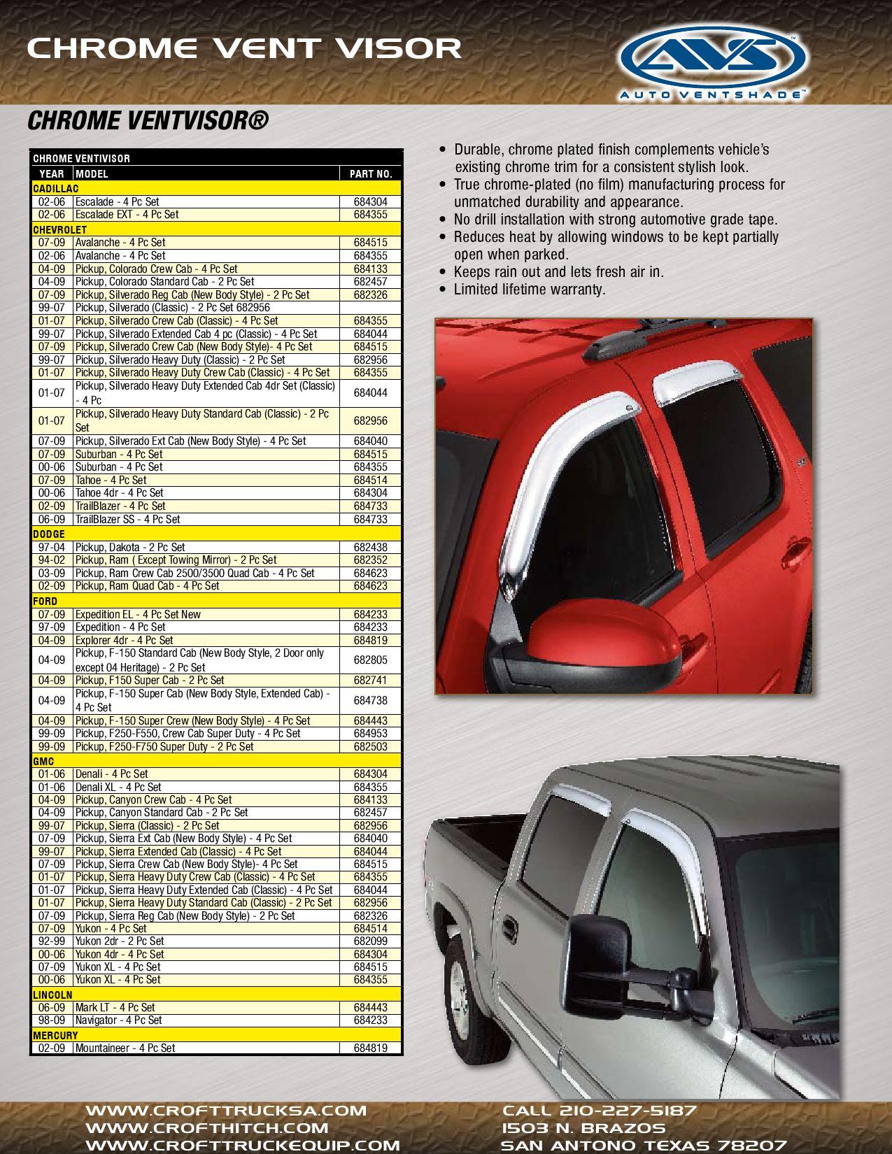 No Drill Installation Auto Ventshade 684304 Chrome Ventvisor 4 pc
