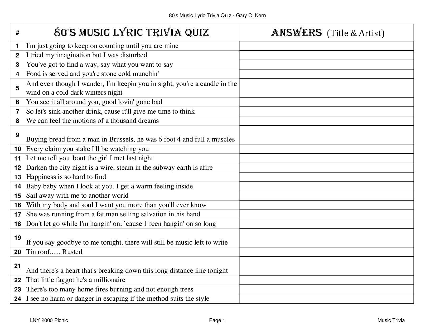 1980's Music Lyric Trivia by Gary Kern - Issuu