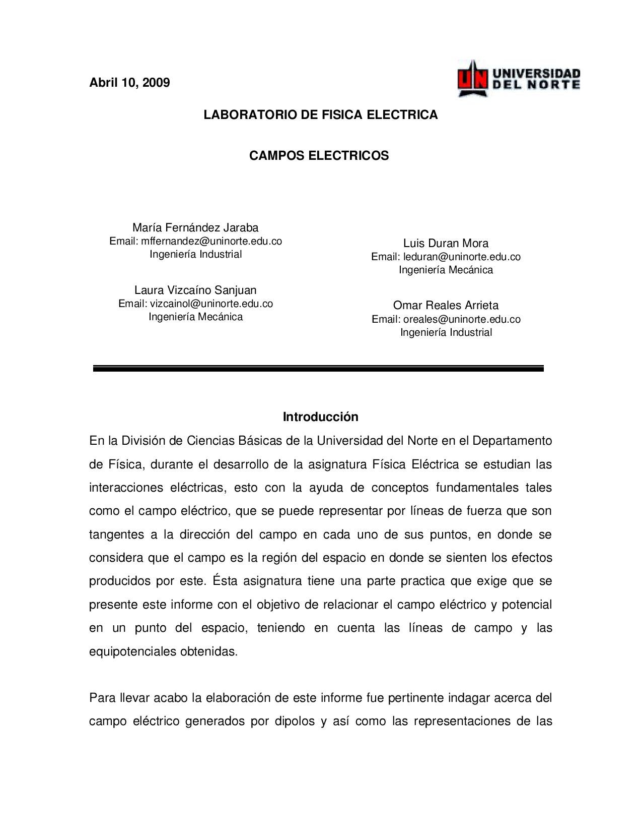 Informe de laboratorio: Campo electrico by Omar Reales - issuu