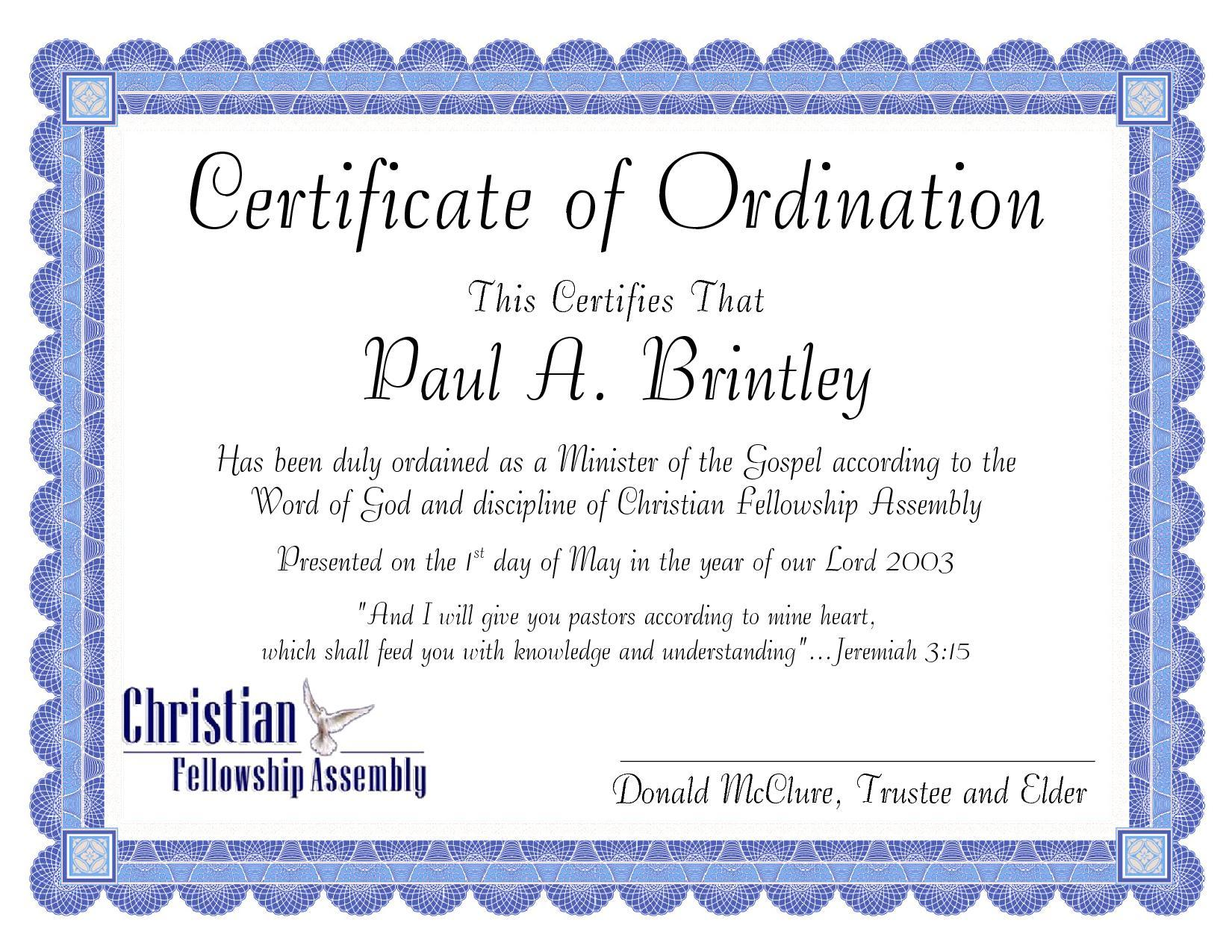 pastor ordination certificate template