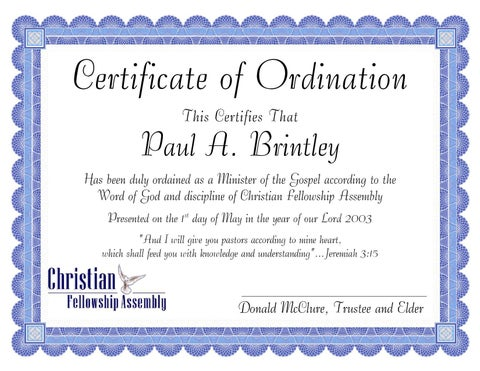 Pastor certificate for Pastor appreciation certificate template free