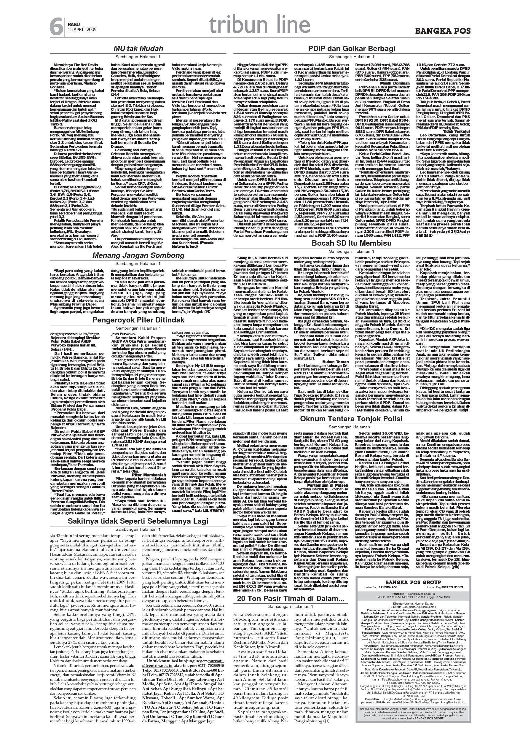 April 15 2009 Bangka Pos Pagi Edisi Harian n0wPk8O