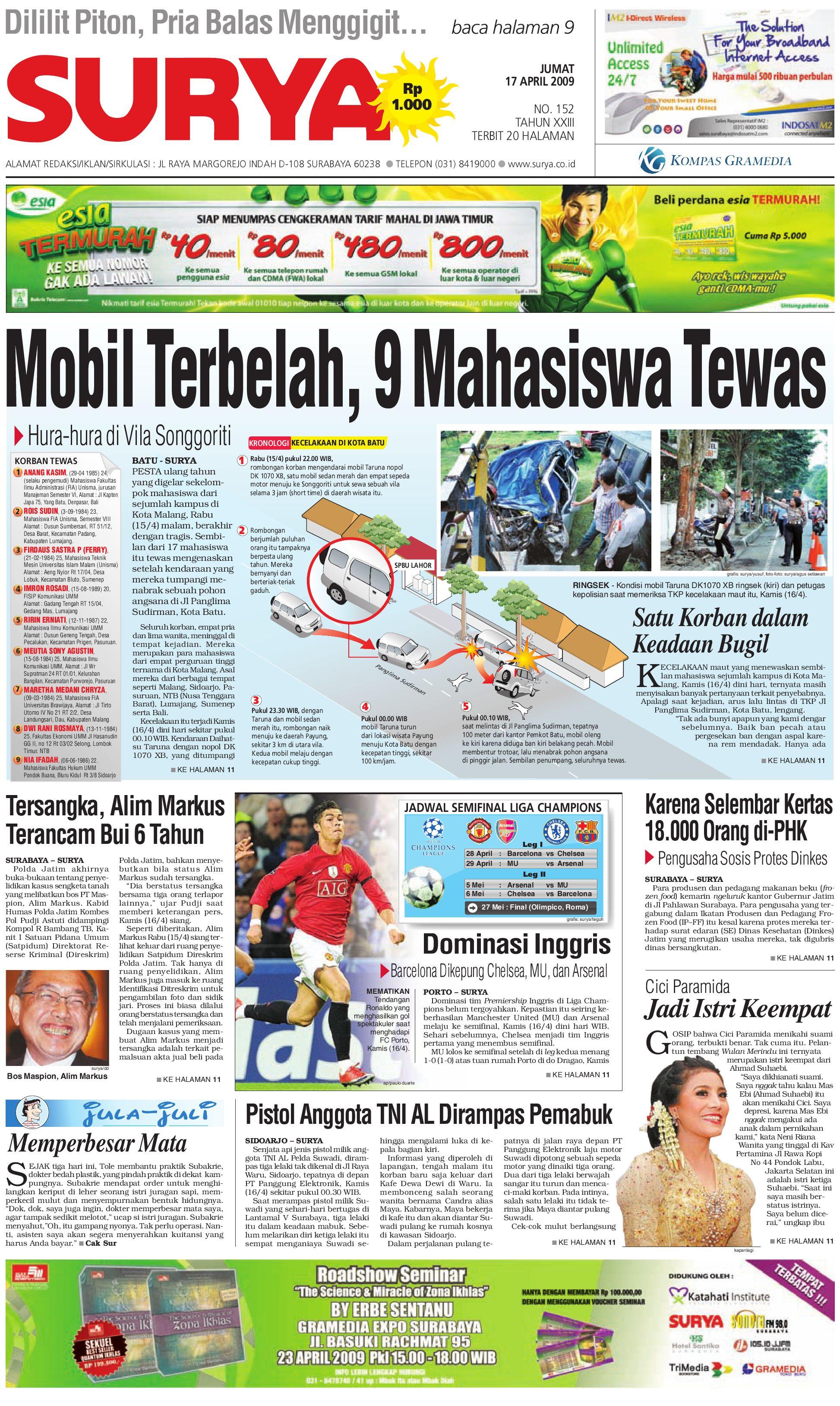 Surya Edisi Cetak 17 April 2009 by Harian SURYA - issuu 87b026b6ee