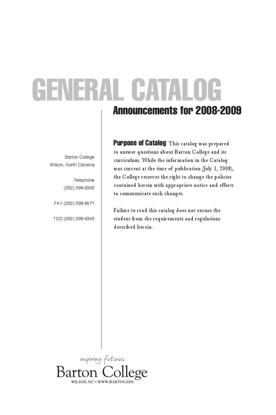 2008/2009 Barton College Course Catalog by keith tew - issuu